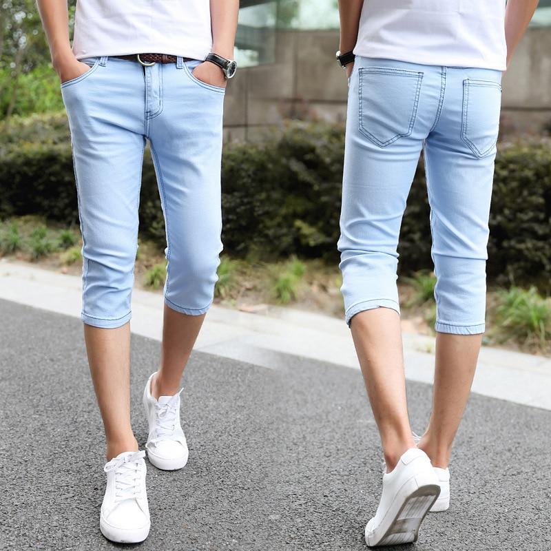Summer Teenager Students Denim Shorts MEN'S Pants Slim Fit Elasticity Skinny Pants Korean-style Trend