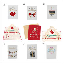 1pc 3D Pop Up Greeting Cards With Envelope Bell Laser Cut Post Card For Birthday Christmas Valentine' Day Party Decoration(China)