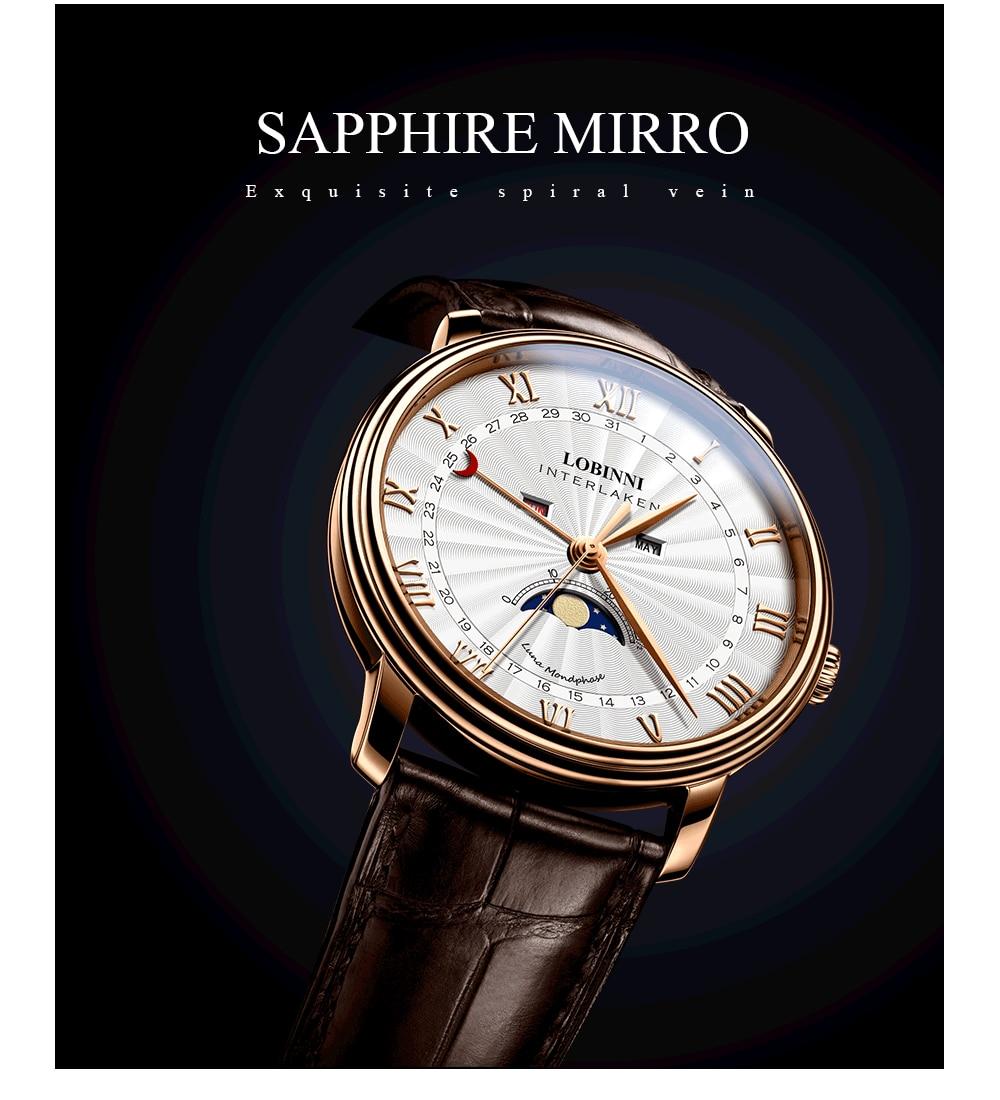 Hc90a7195b02143489f8799bda7eb804a7 Switzerland LOBINNI Men Luxury Brand Quartz Watch Men Sapphire Waterproof Moon Phase Japan Quartz Movement Male Wristwacth