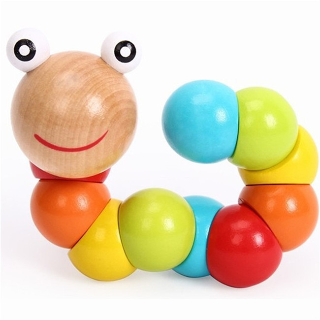 Baby Toys 2017 New Variety Twist-colored Insects Wooden Toys Educational Toys Cheerful Caterpillar Toy SA870045