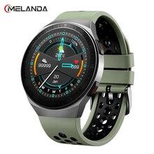 MELANDA 2021 połączenia Bluetooth inteligentny zegarek mężczyźni w pełni dotykowy Smartwatch wodoodporna wielu sport odtwarzacz muzyczny nagrywania bransoletka