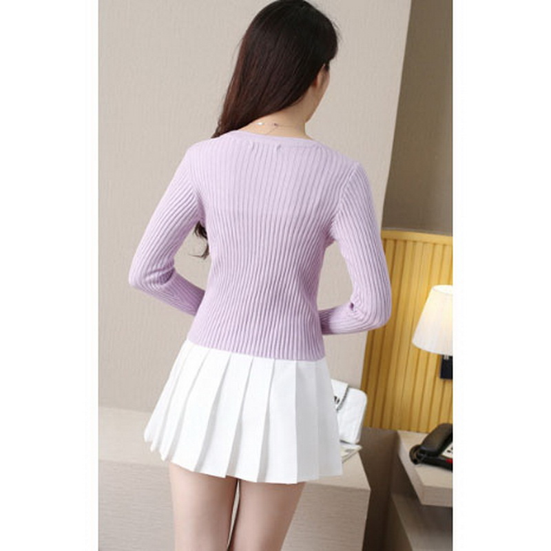 QRWR Spring Autumn Women Sweater Casual Solid Color Knitted Cardigan V Neck Long Sleeve Single Breasted Slim Fit Cardigan Women 3