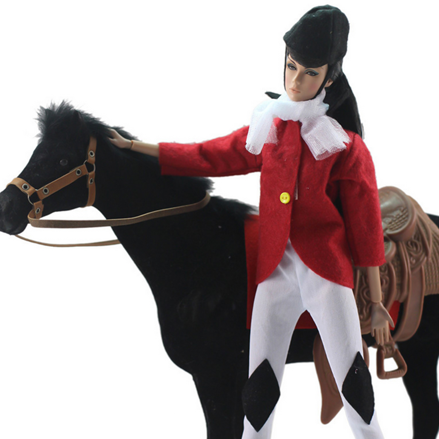 Besegad 4PCS Fashion Horse Riding Outfit Clothes Gown Set With Coat Pant Hat Scarf For Barbie 11.81inch Girl Doll Accessories