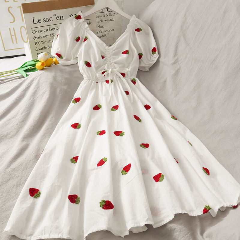 Strawberry Dress Kawaii Embroidery Puff Sleeve Dress Women Vintage A-line White Square Neck Beach Dresses 2021 Korean Clothes