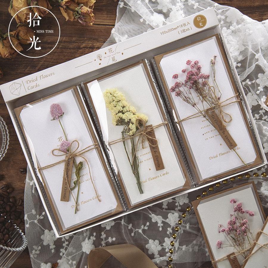 1 Set Real Dried Flowers Greeting Card DIY Retro Paper Hand -Dried Cards Creative Cute Envelopes