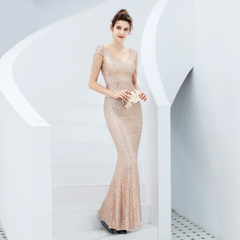 Rose Gold Bridesmaid Dresses Sexy V Neck Sequins Long Cheap Wedding Guest Wear Short Sleeves Maid of Honor Party Prom Gowns