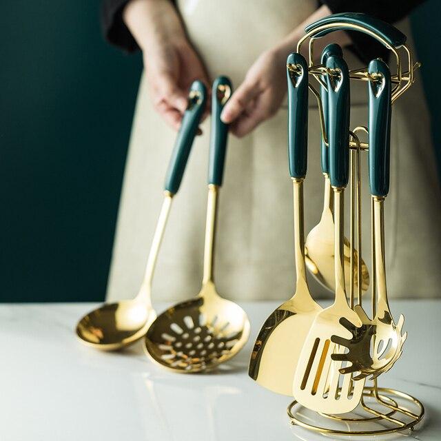 6/7 pcs conjunto de utensílios de cozinha estilo nórdico aço inoxidável utensílios de cozinha acessórios luxo utensílios de cozinha colher de ferramentas especiais 2