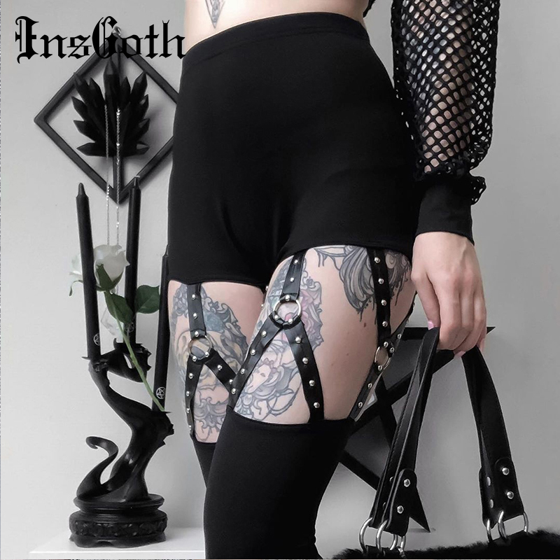 InsGoth Black Pencil Pants High Waist Bodycon Hollow Out Sexy Legging Women Stretchy Pants Streetwear Casual Female Long trouser