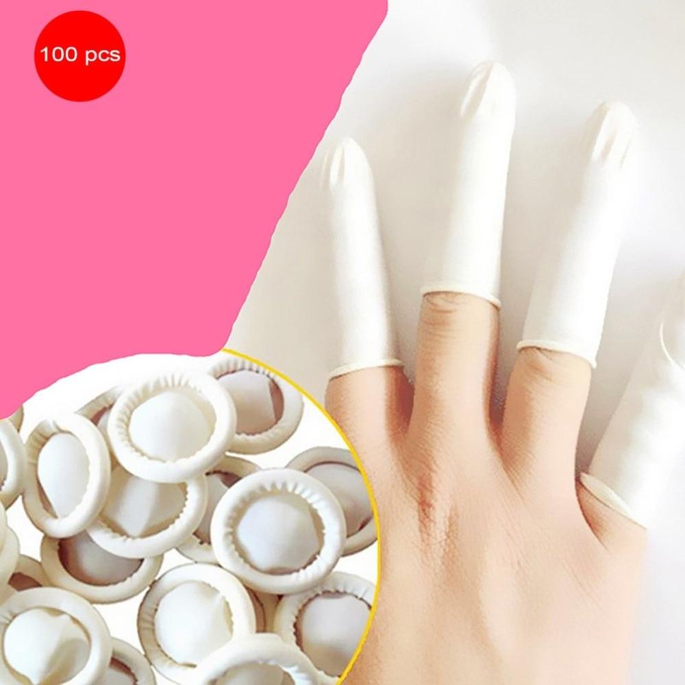 100PCS/SET Durable Natural Latex Anti-Static Finger Cots Practical Design Disposable Makeup Eyebrow Extension Gloves Tools