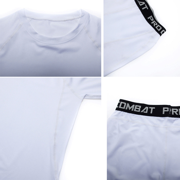 3 Piece Men's Full Suit Tracksuit MMA Tactics winter thermal underwear Skull rashgard Male Compression sport Tights jogging suit 5