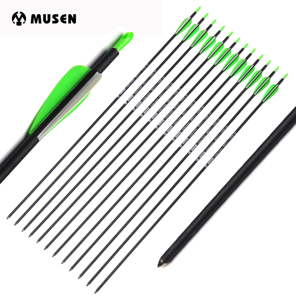 30 Inch Mixed Carbon Arrow Spine 700 Diameter 7mm Adjusted Nock For Compound/Recurve Bow Hunting Shooting