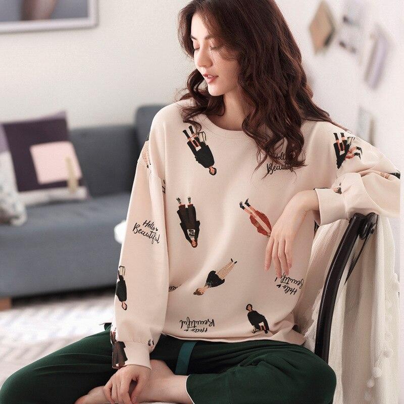 Autumn and Winter Pyjamas Women 100% Pure Cotton Long Sleeves Ladies Pajama Sets Sleepwear Female Sexy Pajamas Women Homewear 18