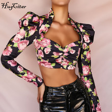 Hugcitar 2019 long puff sleeve ruffles floral print ruched sexy crop tops autumn winter women streetwear party outfits T-shirts цена и фото