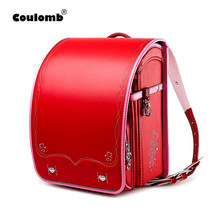 Coulomb Children School Bag For Girls Kid Orthopedic Backpack For School Students Bookbags Japan PU Randoseru Baby Backpack Bags(China)