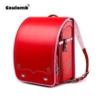 Coulomb Children School Bag For Girls Kid Orthopedic Backpack For School Students Bookbags Japan PU Randoseru Baby Backpack Bags