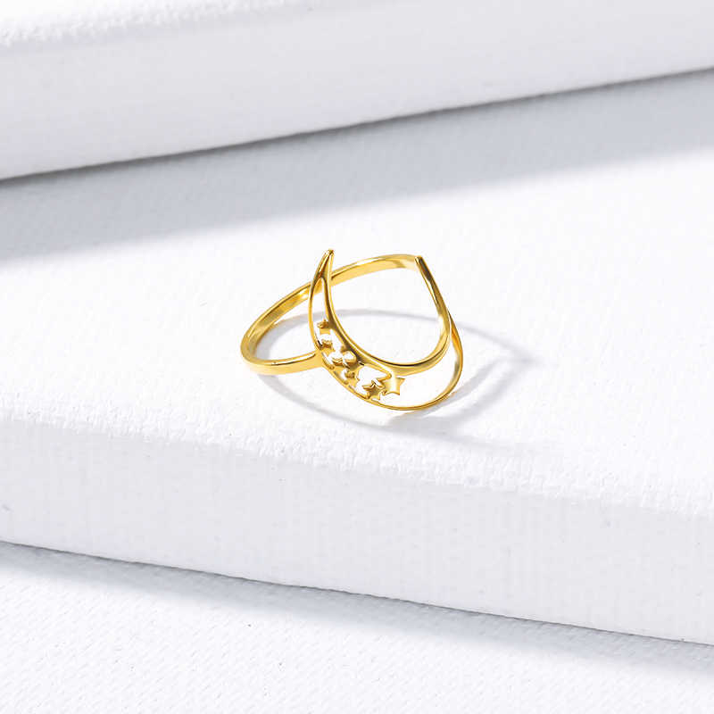 Vintage hecho a mano pequeña luna anillo 2019 moda declaración oro rosa oro encanto señora chica Anillos Mujer