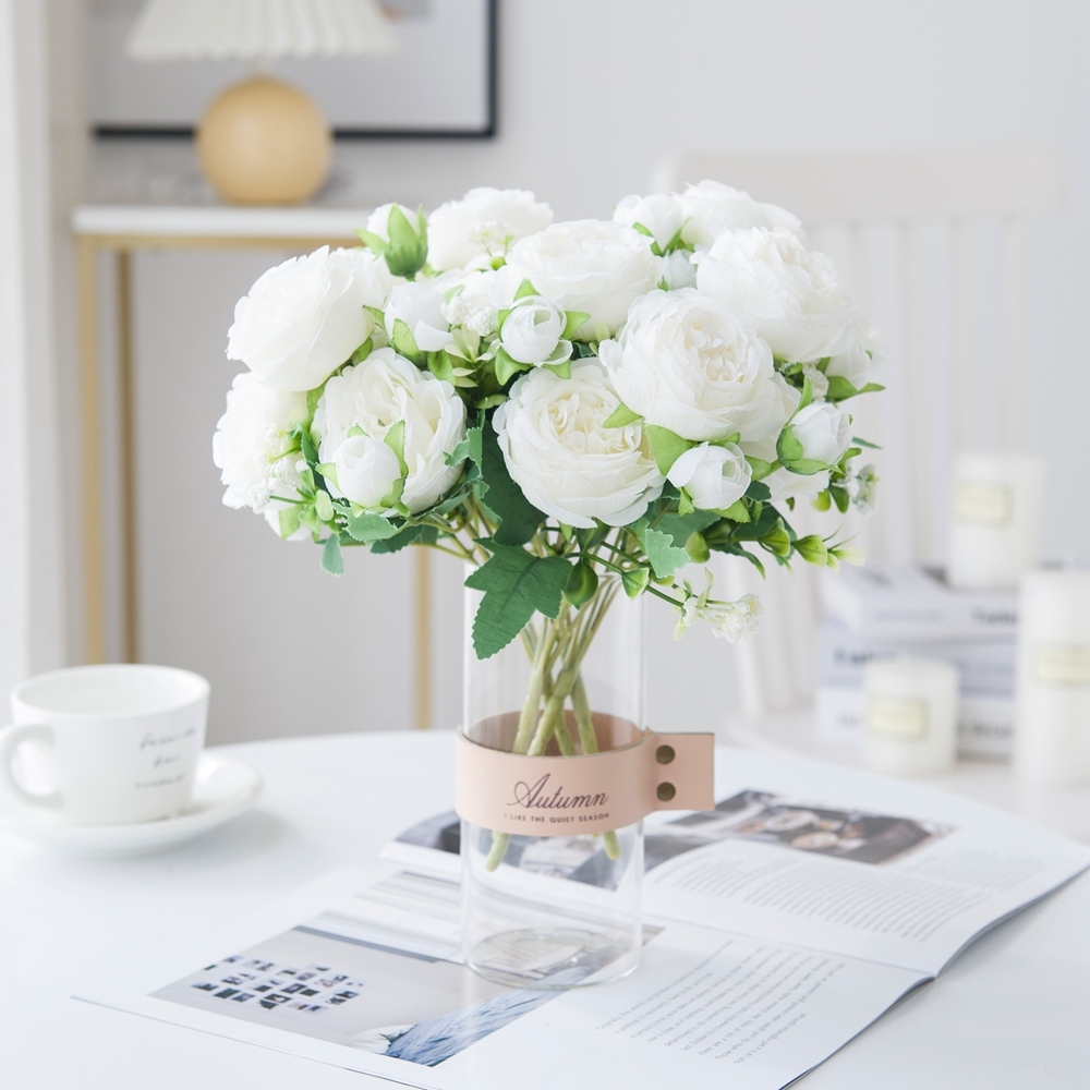 White Roses Artificial Flowers Silk Peonies Wedding Decorative Vases for Home Decor Bride Bouquet Foam Craft Gifts Fake Plants