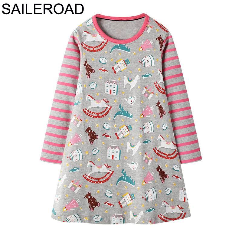 SAILEROAD Dinosaur Dress Girl Clothing Animal Appliques Cotton Girls Dresses for Kids Clothes Long Sleeve Princess Dress Unicorn 4