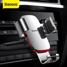 Baseus-Soporte de teléfono móvil para coche, base de teléfono con rejilla de ventilación/ranura para CD, de Metal Gravity, para iPhone y Samsung