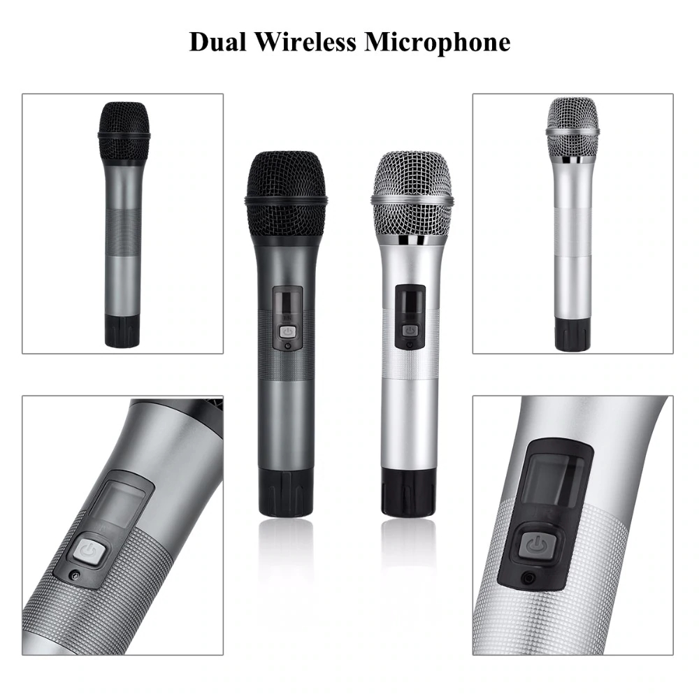 Excelvan Micro K28 Wireless Dual Channel Microphone Adjustable Echo Volume Digital Low Distortion For Home Entertainment Conference (14)