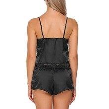 Womens Sexy Sleepwear Satin Set Black Lace V-Neck Pyjamas Sleeveless Nightwear Lace Sleepwear Trim Cami Top Sets Underwear