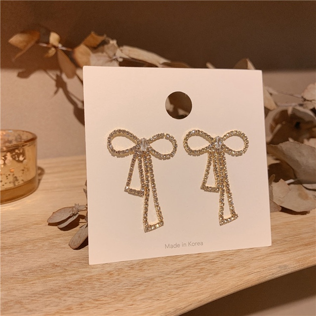 MENGJIQIAO New Elegant Full Rhinestone Bowknot  Drop Pendientes For Women Students Shiny Fashion Sweet Earings For Party Jewelry