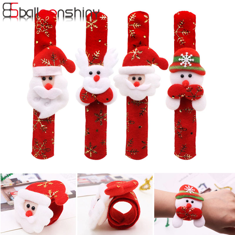 BalleenShiny Christmas Gift For Kids Boy Girl Santa Claus Kids Toys Snowman Elk Pat Ring Christmas Party Decoration Accessories