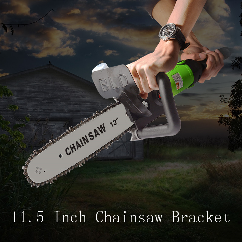 11.5/12 Inch Chainsaw Bracket Changed 100 125 150 Electric Angle Grinder M10/M14/M16 Into Chain Saw Woodworking Power Tool Set image