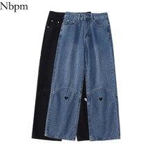 Nbpm novo 2021 moda coração calças de brim para meninas jeans baggy mulher streetwear cintura alta calças jeans mujer perna larga