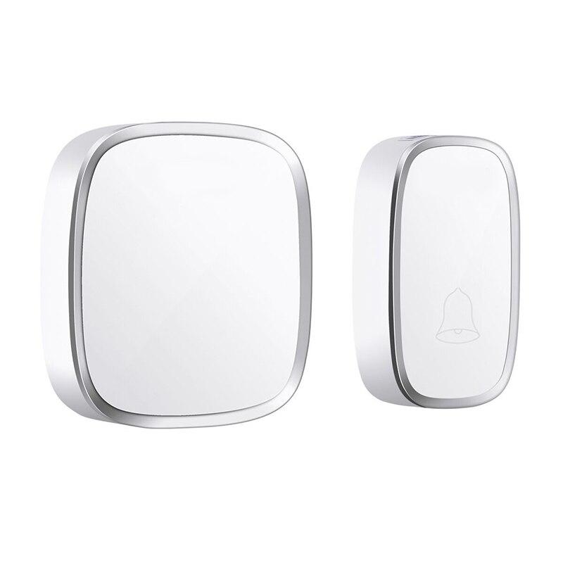 FFYY-Ip44 Waterproof Wireless Doorbell 280M Range Smart Home Door Bell Chime Ring 1 Button 1 Receiver Vc110-220V(Eu Plug)
