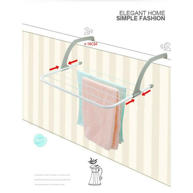 Creative Functional Bathroom Towl Racks Magic Radiator Towel / Clothes Folding Pole Airer Dryer Drying Rack 5 Rail Bar Holder