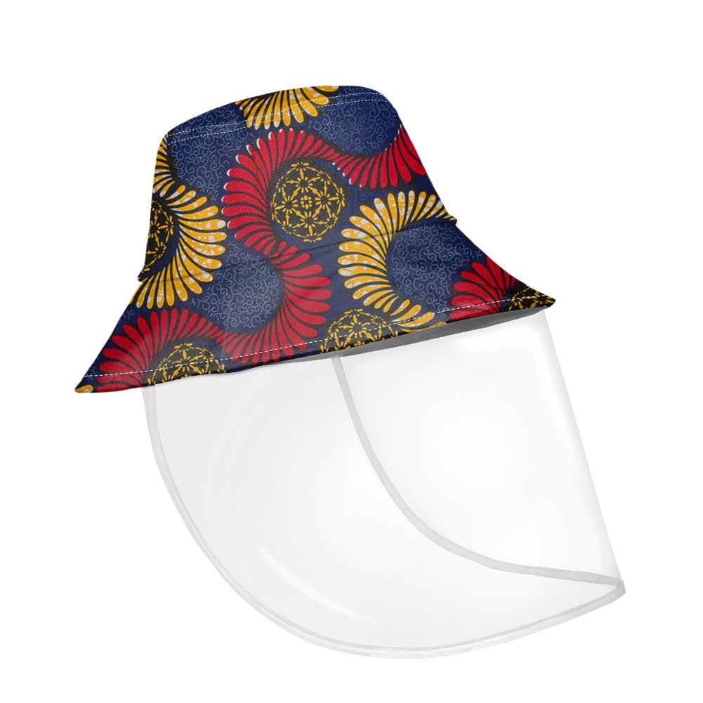 Aftro African Printing Winter Bucket Hats Women Fisherman Hat With Plastic Shield Set Removable Female Traveling Gorro Pescador