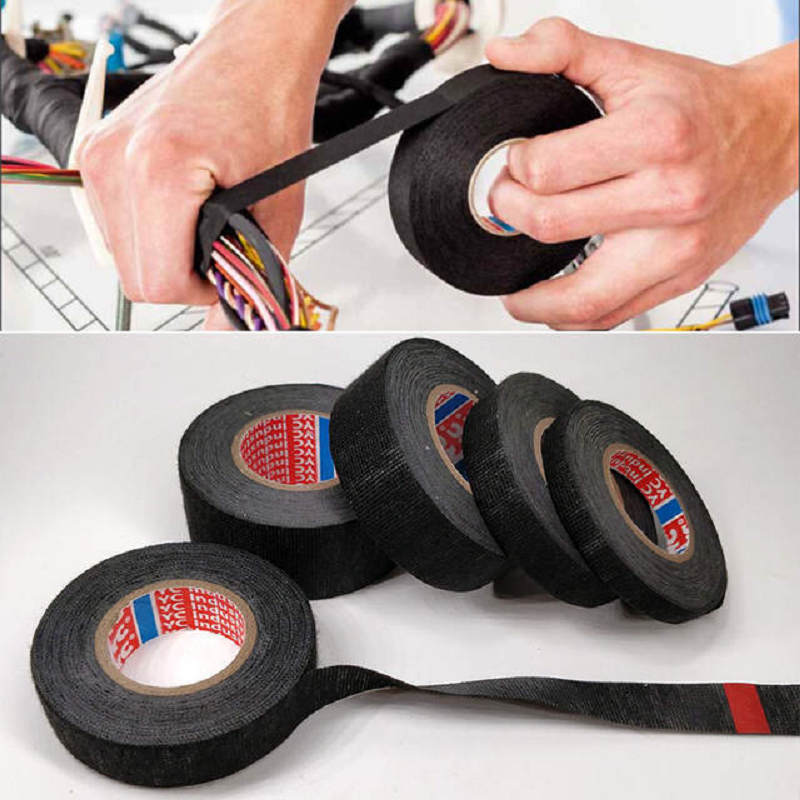 1PCS Tesa Type Coroplast Adhesive Cloth Tape For Cable Harness Wiring Loom Cable Protection Tape Width 9/15/19/25/32MM*15M