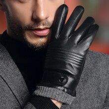Real Leather Gloves Male Autumn Winter Warm Driving Sheepskin Gloves Man's Mittens Black Dark Brown TE2806 hestra deerskin winter lined dark brown