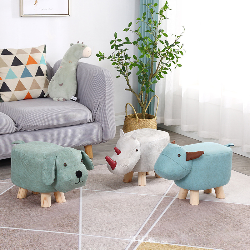 2020 New Children's Solid Wood Small Sofa Stool  Animal Sofa Stool  Household Furniture Solid Wood Portable Small  Shoe Stool