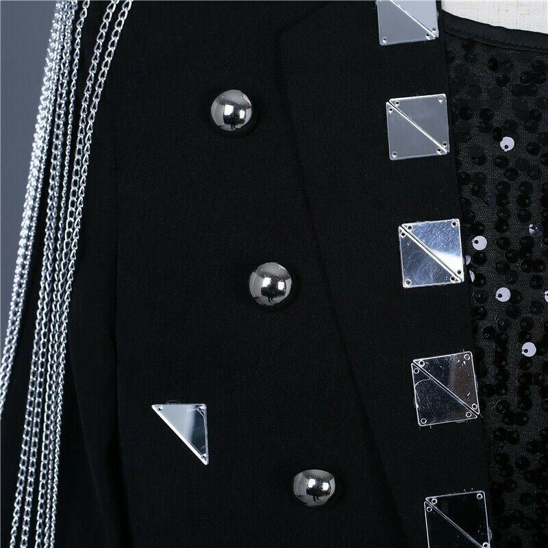 Men's One Button Glitter Tassels Blazer Slim Fit Costume Jackets Party Bar Men Coat N013 - 6