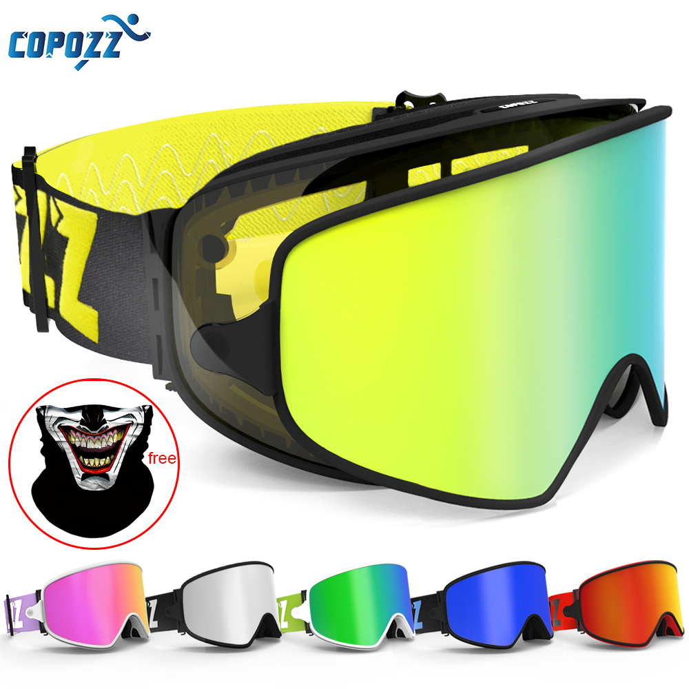 COPOZZ 2 In 1 Lens Ski Goggles With Magnetic Dual-use Snowboard Glasses For Night UV400 Men Women VLT 60.9% Skiing Goggles