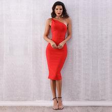 Seamyla 2021 Новое красное платье на одно плечо знаменитости