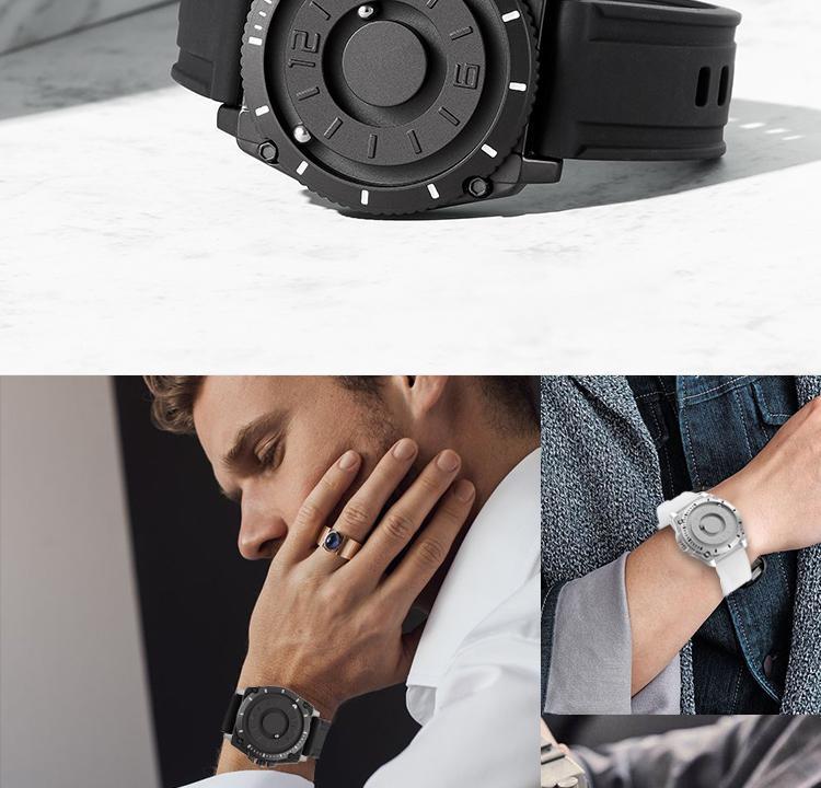 Hc90c55420f66492c9ebdc54963dc619fC Eutour magnetic watch parallel time and space black technology men's couple wristwatch women's wristwatch personality gel wristb