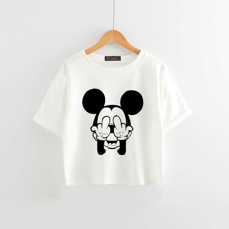 ZSIIBO mùa hè mới Áo Thun cổ tròn Hình Chuột Mickey bình nutelld Tiếng Anh dễ thương tay ngắn in in rốn Áo Thun Nữ