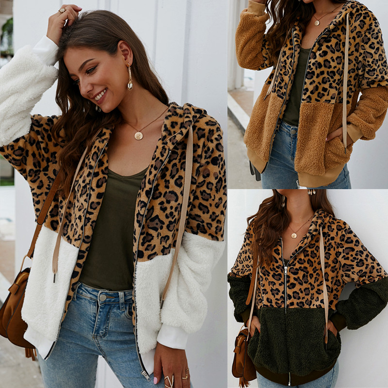 2019 New Women Winter Fashion Coat Long Sleeve Hooded Warm Fleece Jacket Outwear Streewear Leopard Tops Coat Hot Sale Size S-XL