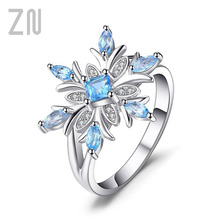 ZN Fashion Blue Zircon Flower Rings for Women Elegant Chic Snowflake Rings with Stone