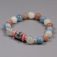 Acecare Handmade Beaded Bracelet Aquamarine Moonstone Female Elastic Bracelet