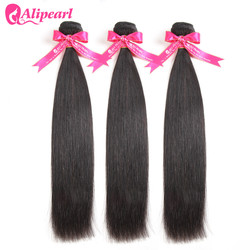 AliPearl Hair Peruvian Straight Hair Weave 3 Bundles Deal 100% Remy Human hair Bundles 10 12 14 16 18 20 22 24 26 28 30 inches