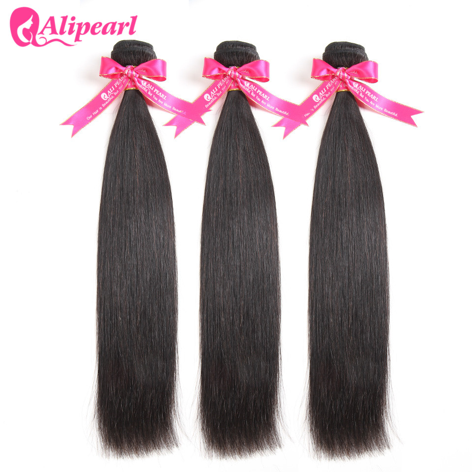 AliPearl saç perulu düz saç örgü 3 demetleri anlaşma 100% Remy İnsan saç paketler 10 12 14 16 18 20 22 24 26 28 30 inç