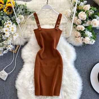 New Women's Bodycon Mini Dress Sleeveless Solid Color Sexy Strappy Ladies' Fashionable Summer Vestido Hot Sale