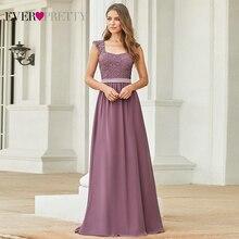 בורגונדי שושבינה שמלות אלגנטי ארוך אונליין שיפון חתונת אורחים שמלות אי פעם די EZ07704 אפור פשוט Vestido לונגו