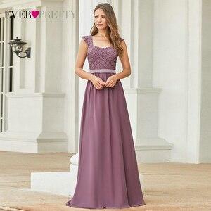Image 1 - 부르고뉴 신부 들러리 드레스 우아한 긴 a 라인 시폰 웨딩 게스트 드레스 이제까지 예쁜 EZ07704 그레이 간단한 Vestido Longo