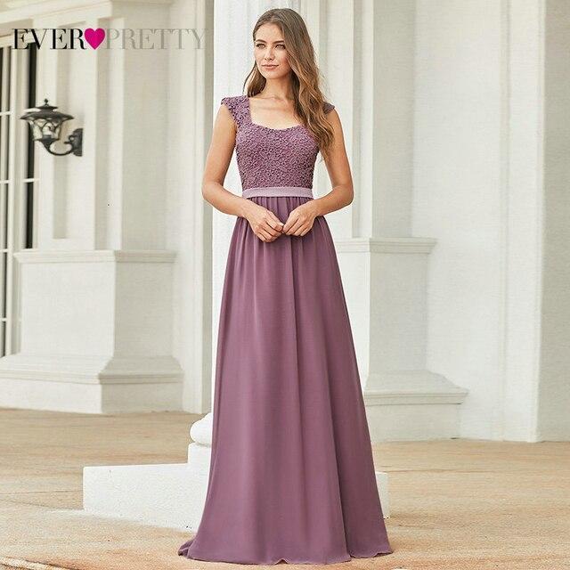 부르고뉴 신부 들러리 드레스 우아한 긴 a 라인 시폰 웨딩 게스트 드레스 이제까지 예쁜 EZ07704 그레이 간단한 Vestido Longo