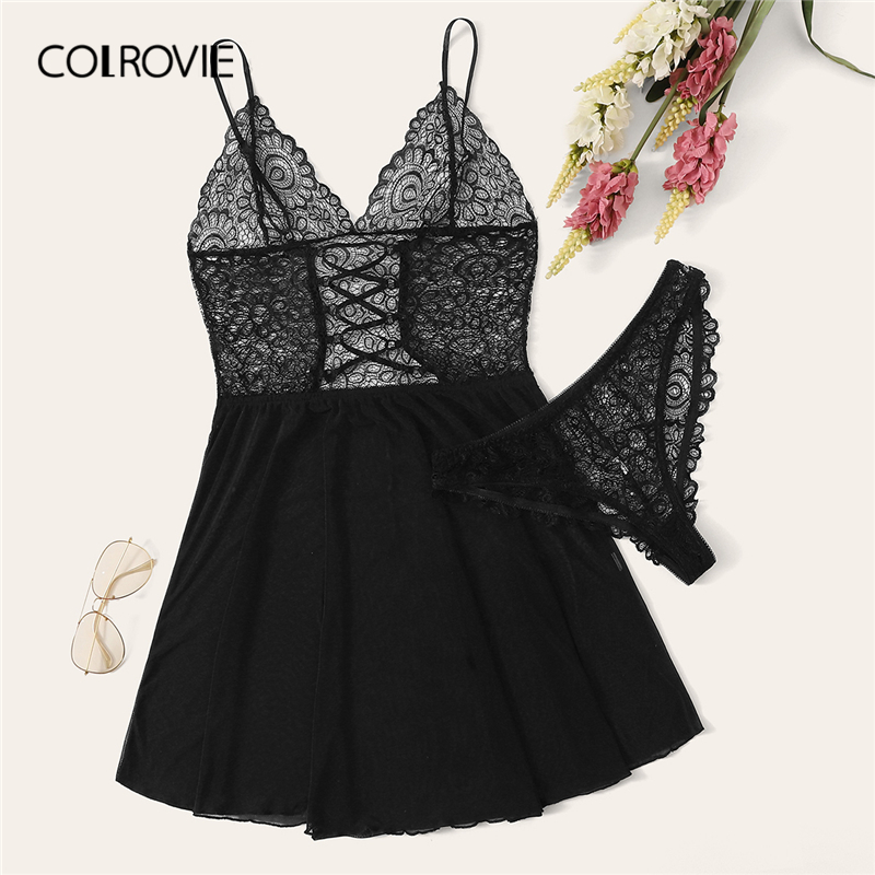 COLROVIE Black Floral Lace Sheer Slips With Panty Women Night Dress With Hipsters 2019 Cami Sexy Babydolls Mesh Sexy Lingerie